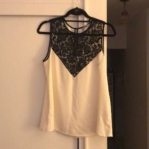 H&M cream with black sleeveless lace blouse size 8